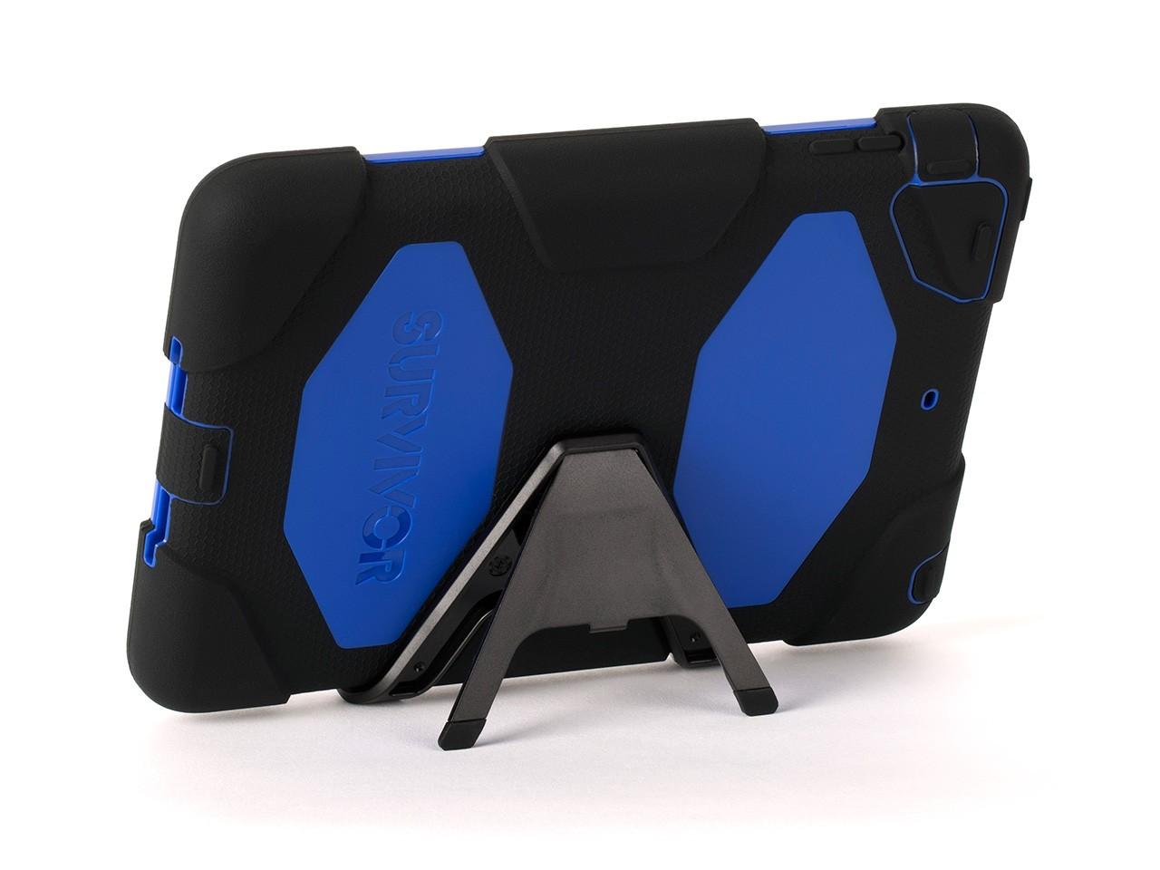 Black/Blue Survivor All-Terrain Case + Stand for iPad mini