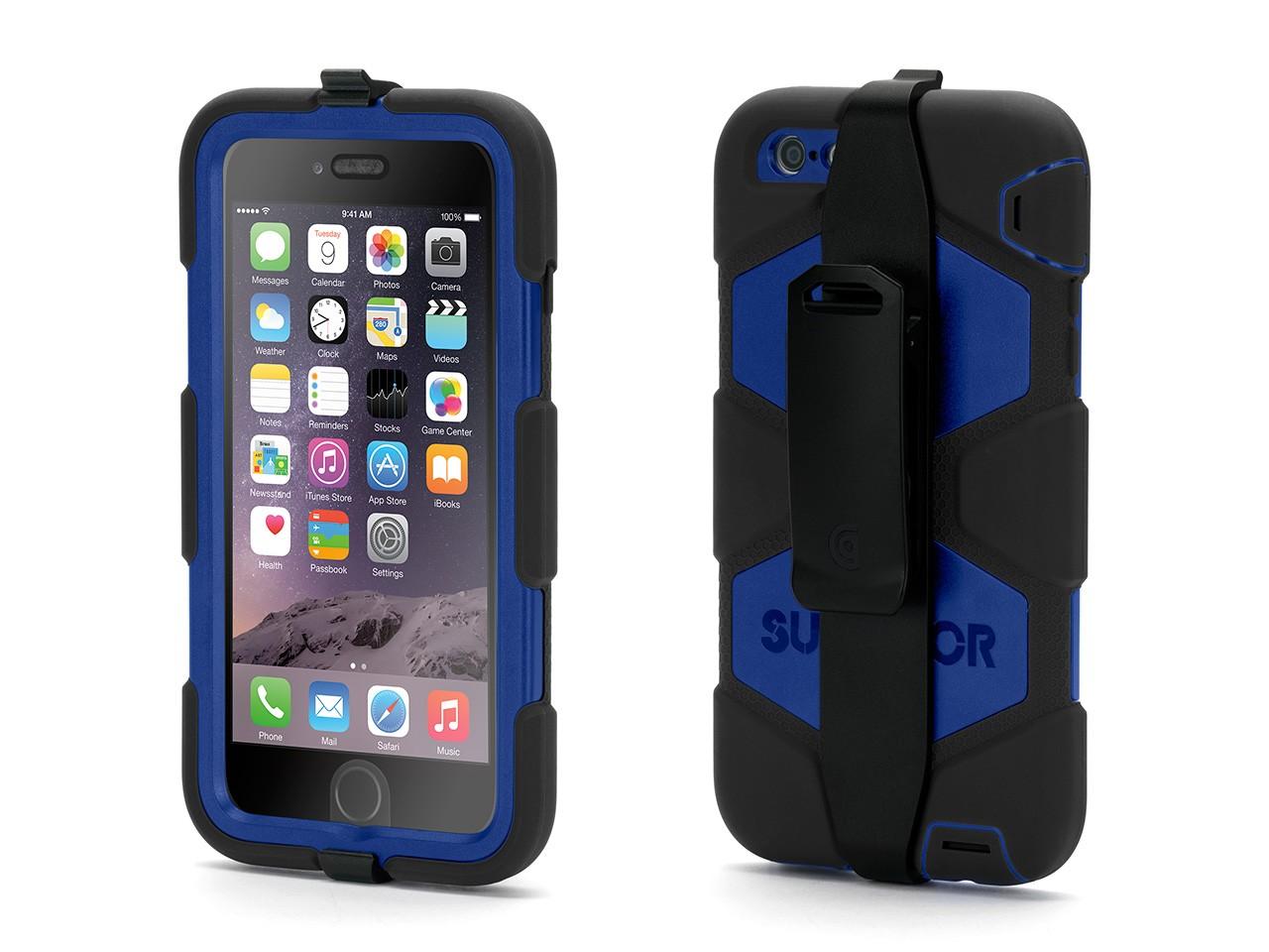 Black/Blue Survivor All-Terrain Case + Belt Clip for iPhone 6 Plus/6s Plus