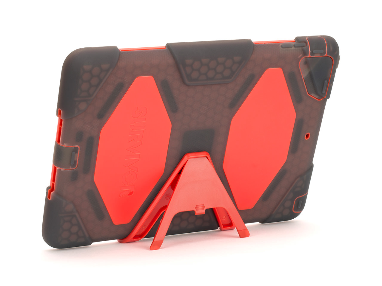 Smoke/Red Survivor All-Terrain Case + Stand for iPad Air