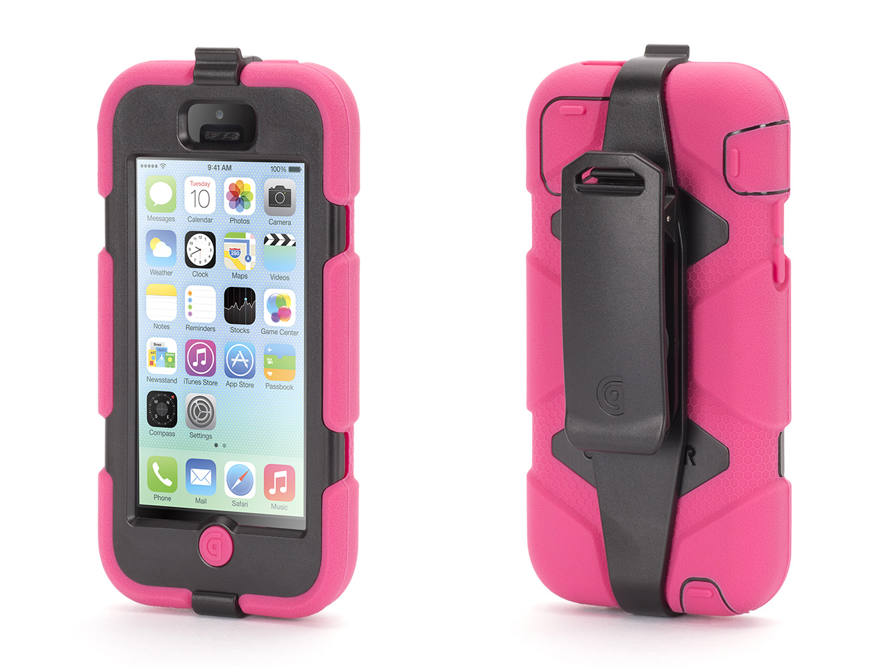 Pink / Black Heavy Duty Survivor All-Terrain Case for iPhone 5c