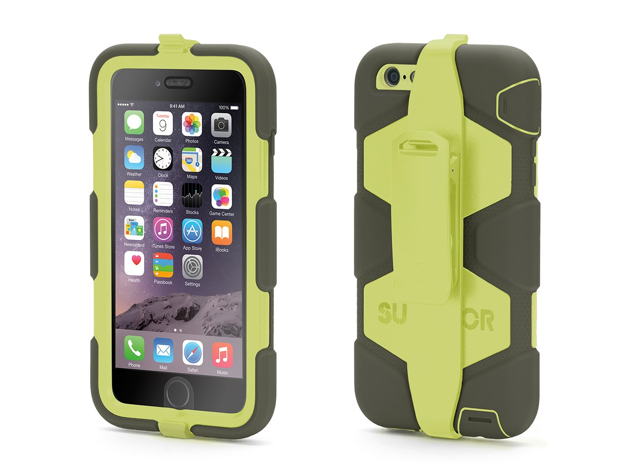 Olive/Lime Survivor All-Terrain Case + Belt Clip for iPhone 6 Plus/6s Plus
