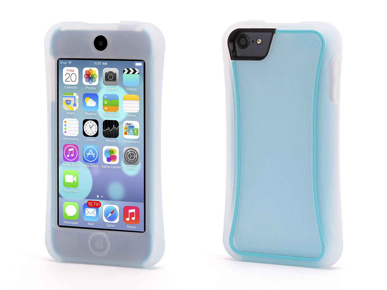 iPod Touch 5th/6th Gen Case Survivor Slim Protective Case - Mineral Blue/Clear