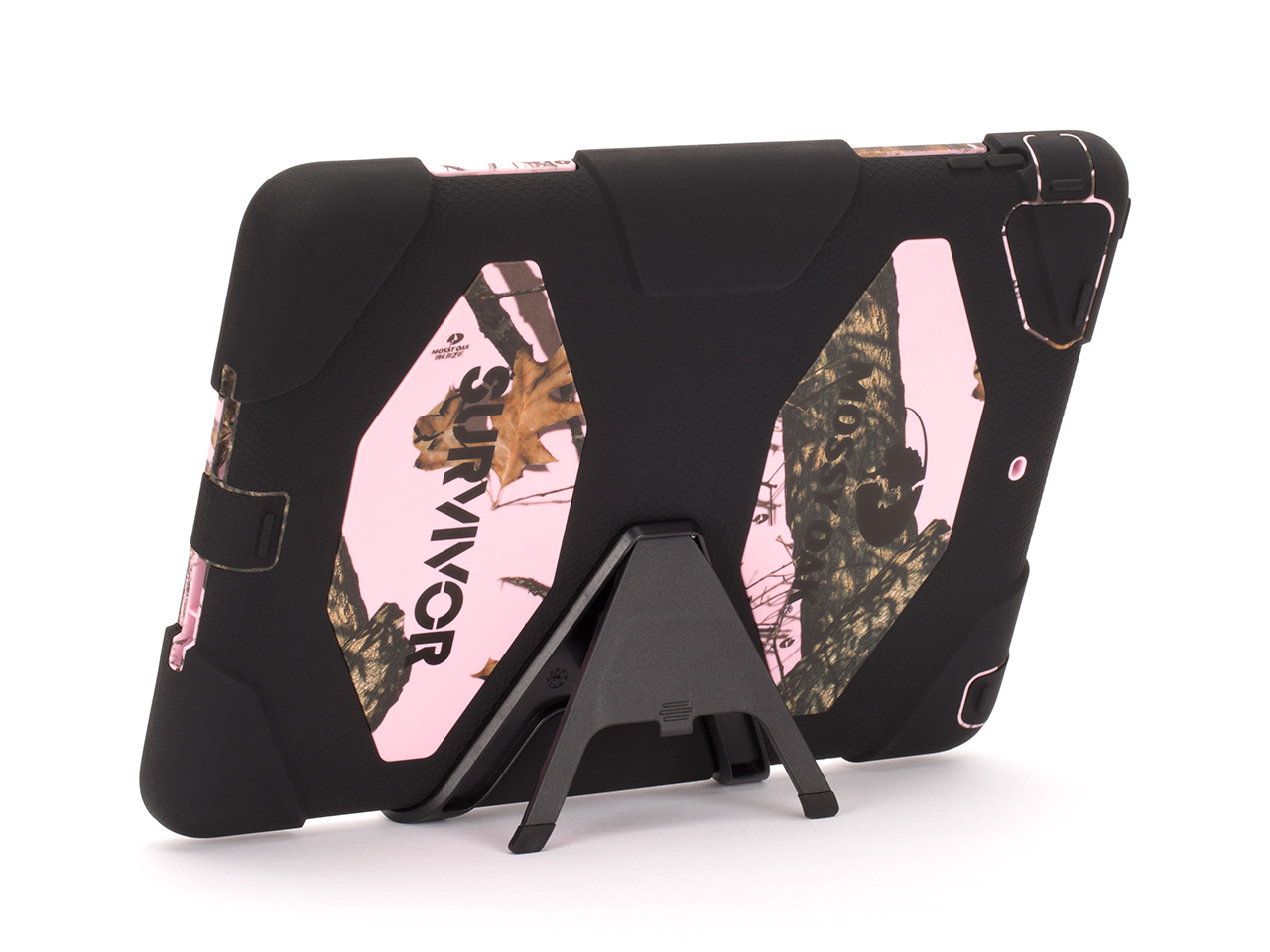 Pink Breakup/Black Survivor All-Terrain in Mossy Oak Camo + Stand for iPad Air