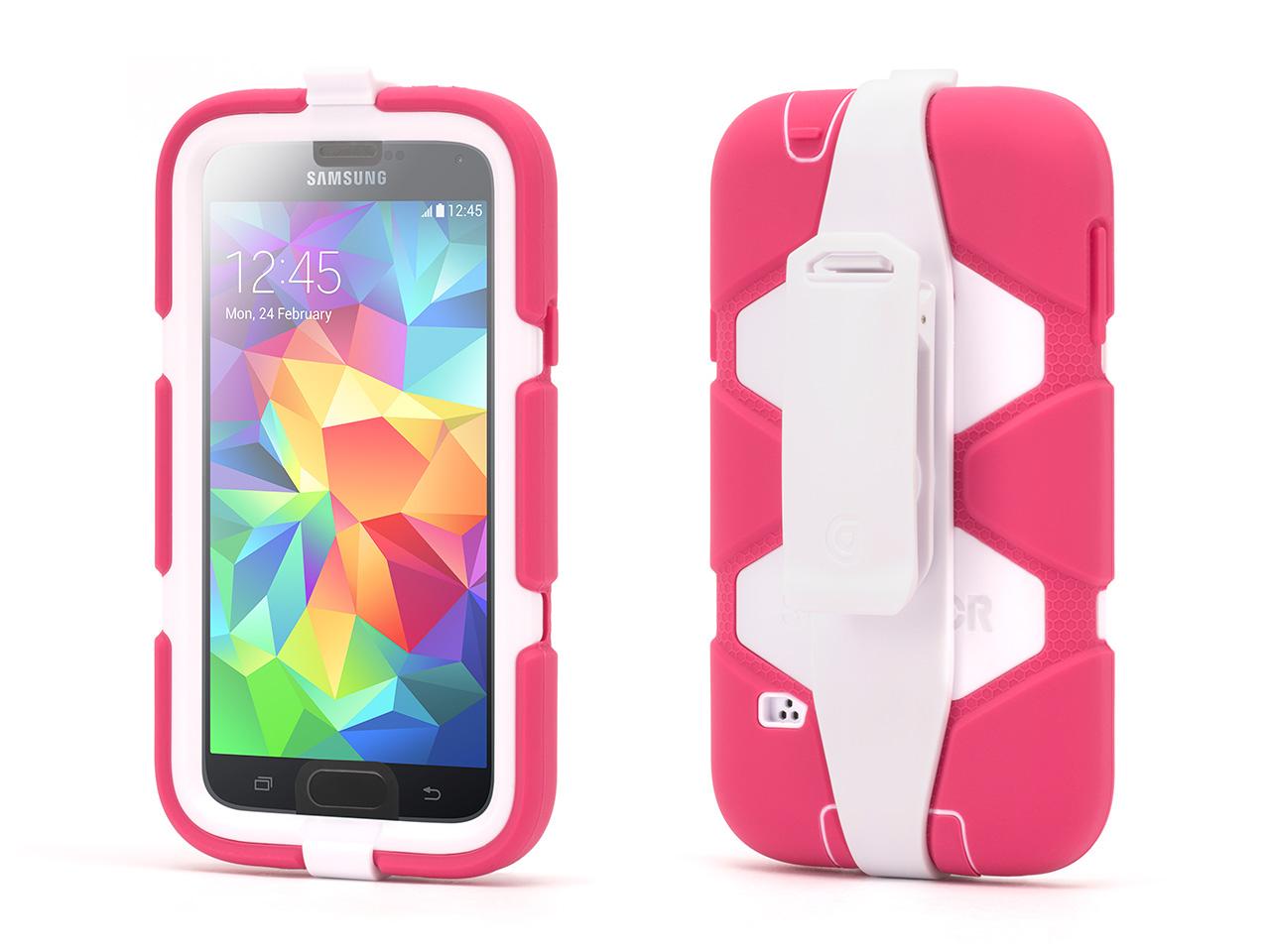 Pink/White Survivor All-Terrain Case + Belt Clip for Samsung Galaxy S5