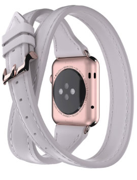 Apple Watch 38mm Leather Band Uptown Double-Wrap Band Ecru