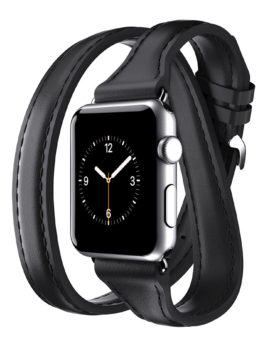 Apple Watch 38mm Leather Band Uptown Double-Wrap Band Black
