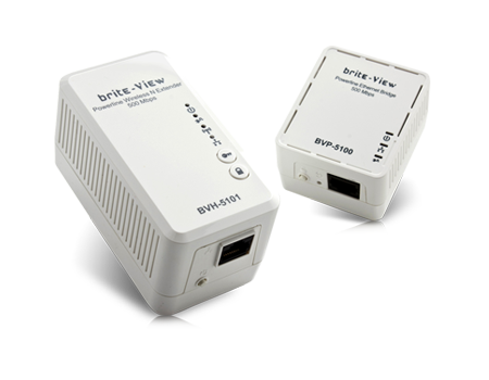 brite-View LinkE Air Powerline 500Mbps Ethernet Adapter Kit with Wi-Fi Extender