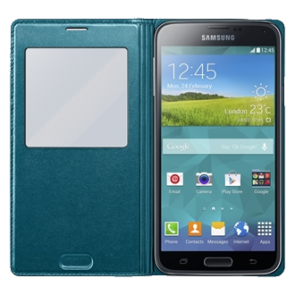 Samsung GS5 S-View Flip Cover - Peacock Green